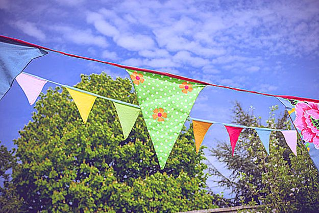 No-Sew Bunting   Cute and Clever Baby Shower Decoration Ideas   baby shower theme ideas   homemade baby shower decorations   baby shower party supplies