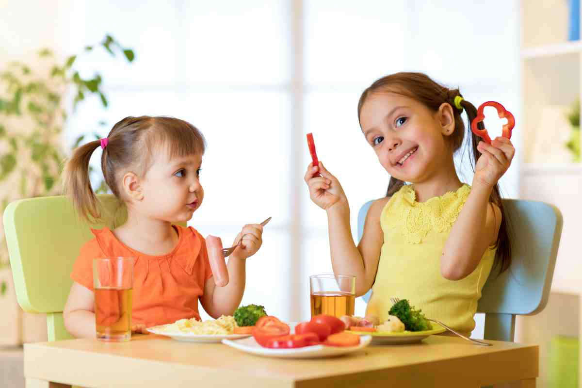 Girls eating   Healthy Food Serving Size for Toddlers and Kids   serving size guide